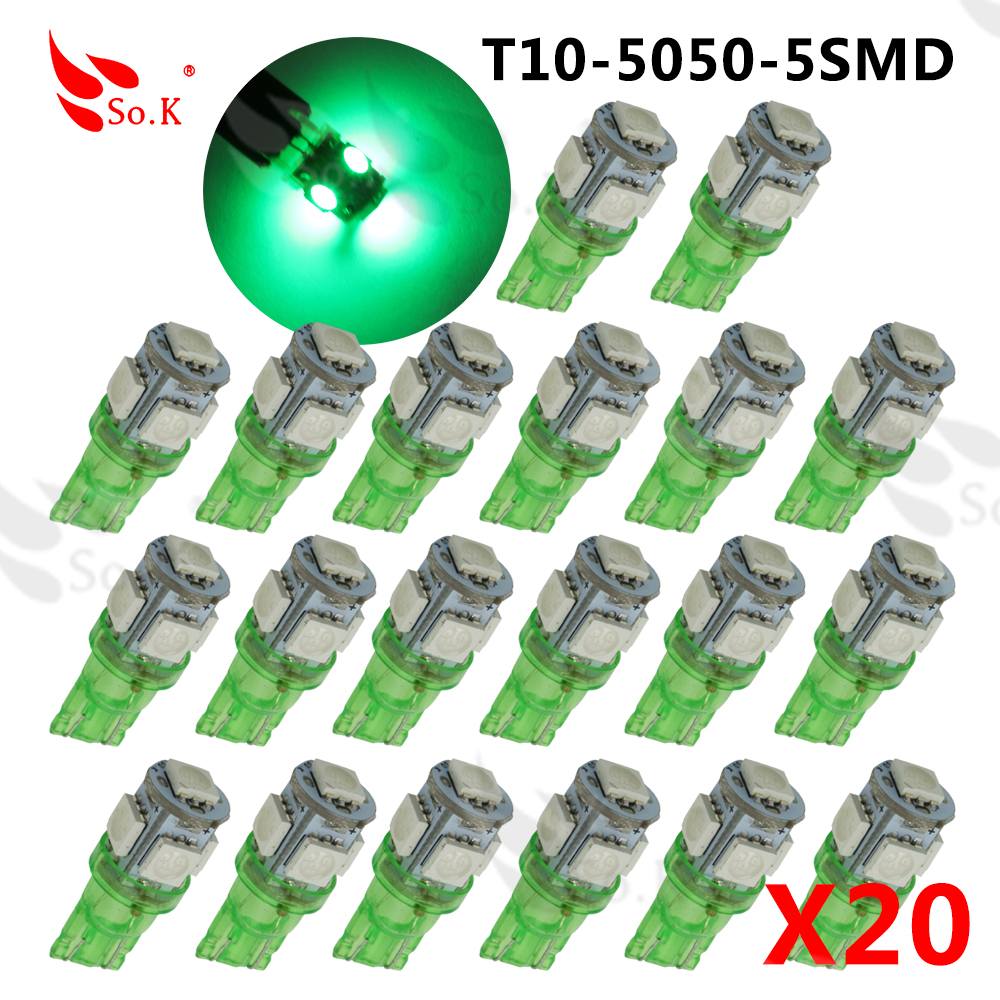 20pcs T10 5050 5SMD LED t10 194 168 W5W Car Side Wedge Tail Light Lamp Bulb white yellow red blue green pink  Super Bright  100pcs t10 3w 360 degree wedge 5050 9 smd led bulb xenon white white warm white yellow red blue green car tail light