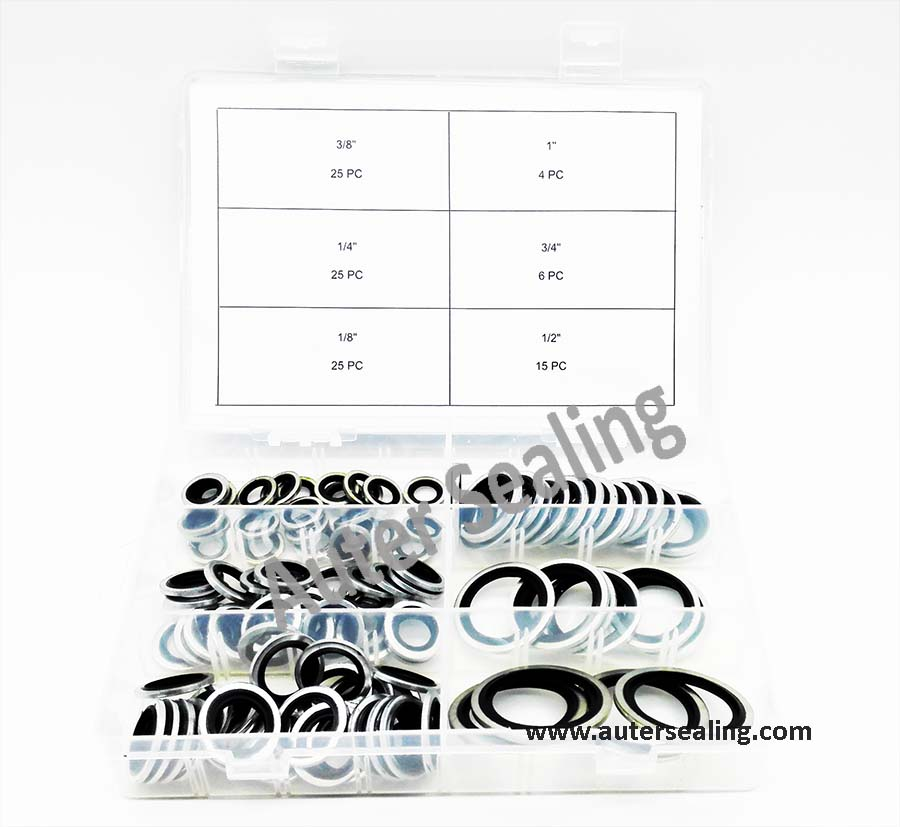 High quality Bonded Washer seals kit BSP 100 pcs 6 different sizes Self Centering rubber seal