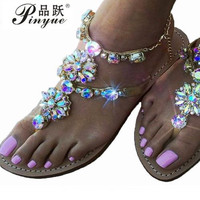 2018 New Bohemian Women Sandals Crystal Flat Heel Sandalias Rhinestone Chain Women Shoes Thong Flip Flops