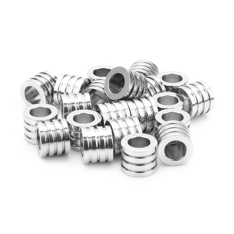 10PCs Stainless Steel Silver Tone Cylinder Bead 8x8mm