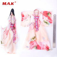 VS049 1:6 Scale Female Pink Ancient Long Wedding Dress Clothes Sets for Action Figure Body Accessory
