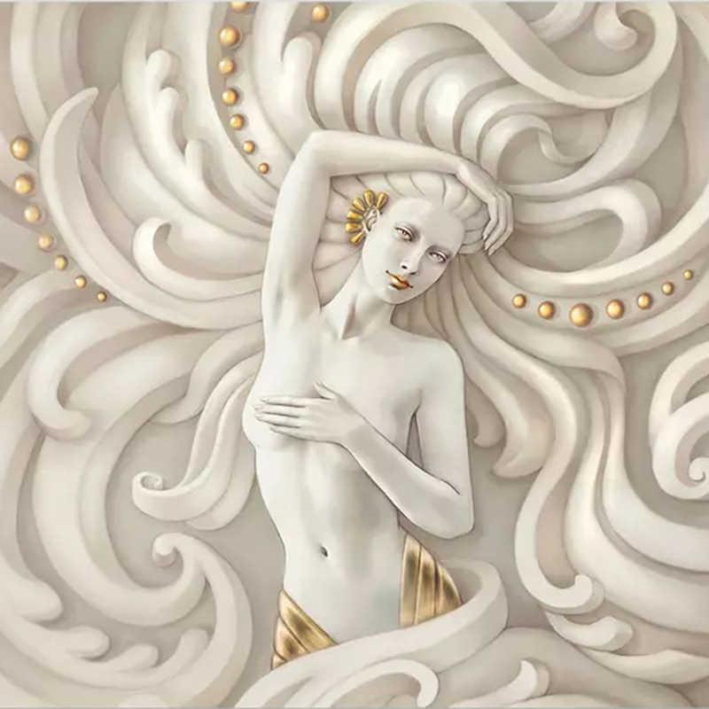Европейский стиль 3D рельефная фигура скульптура Ангел фото фрески обои Гостиная Спальня отель роскошный фон Стена 3 D Фреска