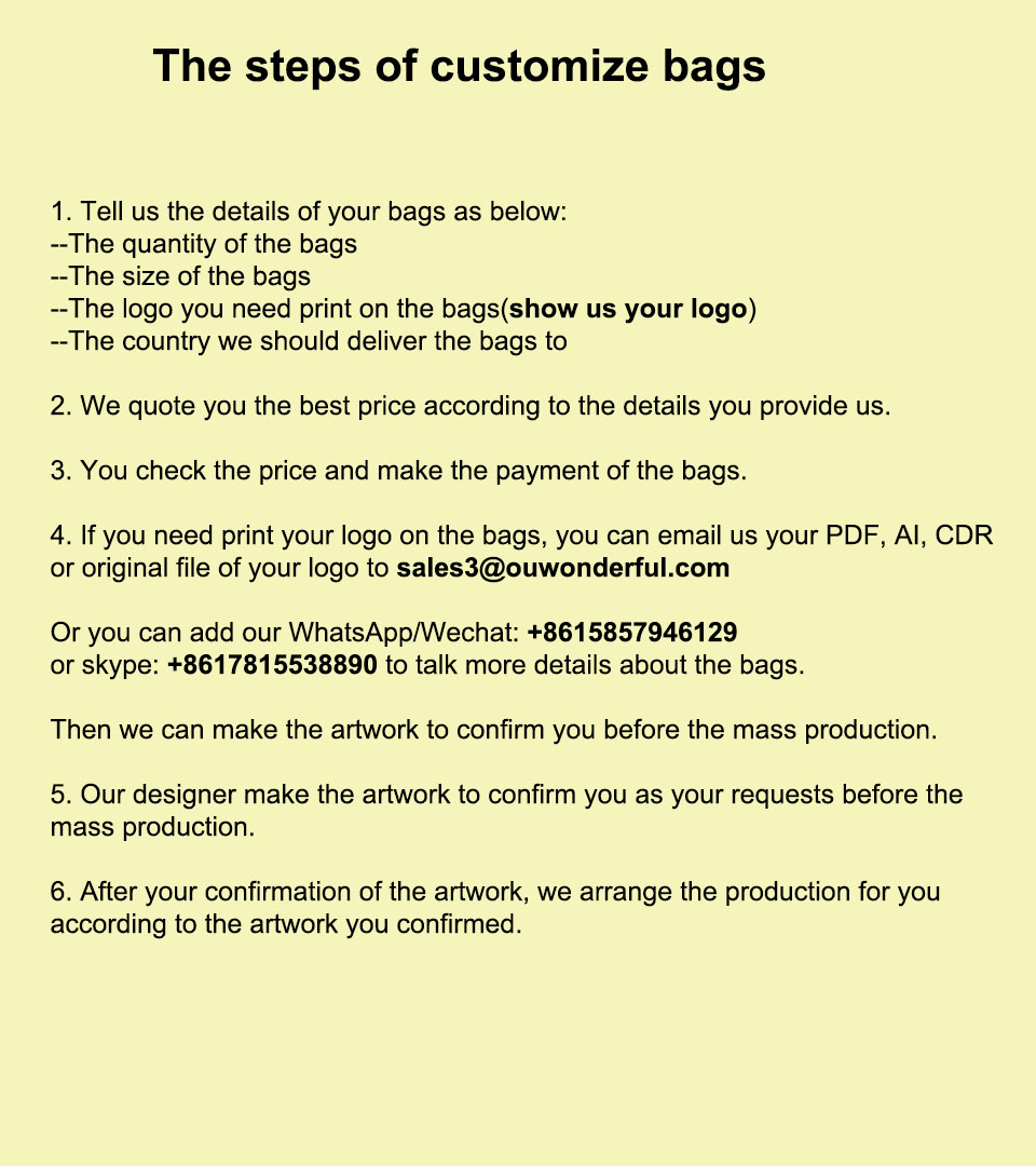 the step of customize bags