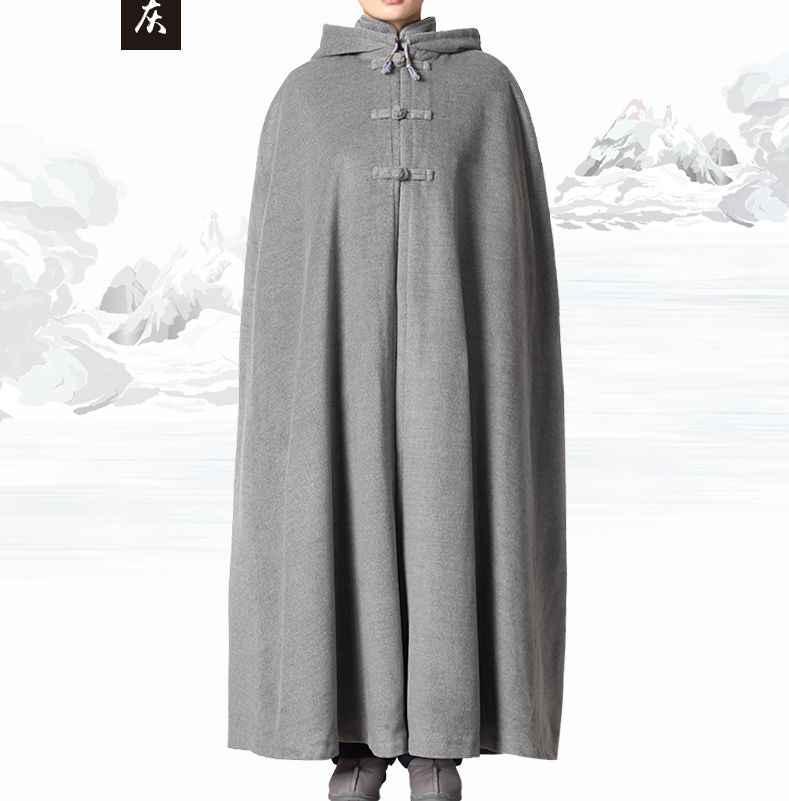 Унисекс Зимние костюмы для буддистов пальто буддийский Шаолинь накидка кунг-фу форма плащ для медитации монахи теплый Халат серый/синий/красный