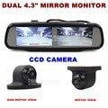 DIYKIT Dual Screen 4.3 polegada TFT LCD Rear View Monitor de Espelho de Carro + HD CCD Car Câmara de Visão Traseira para Rear/Frente/Side vista