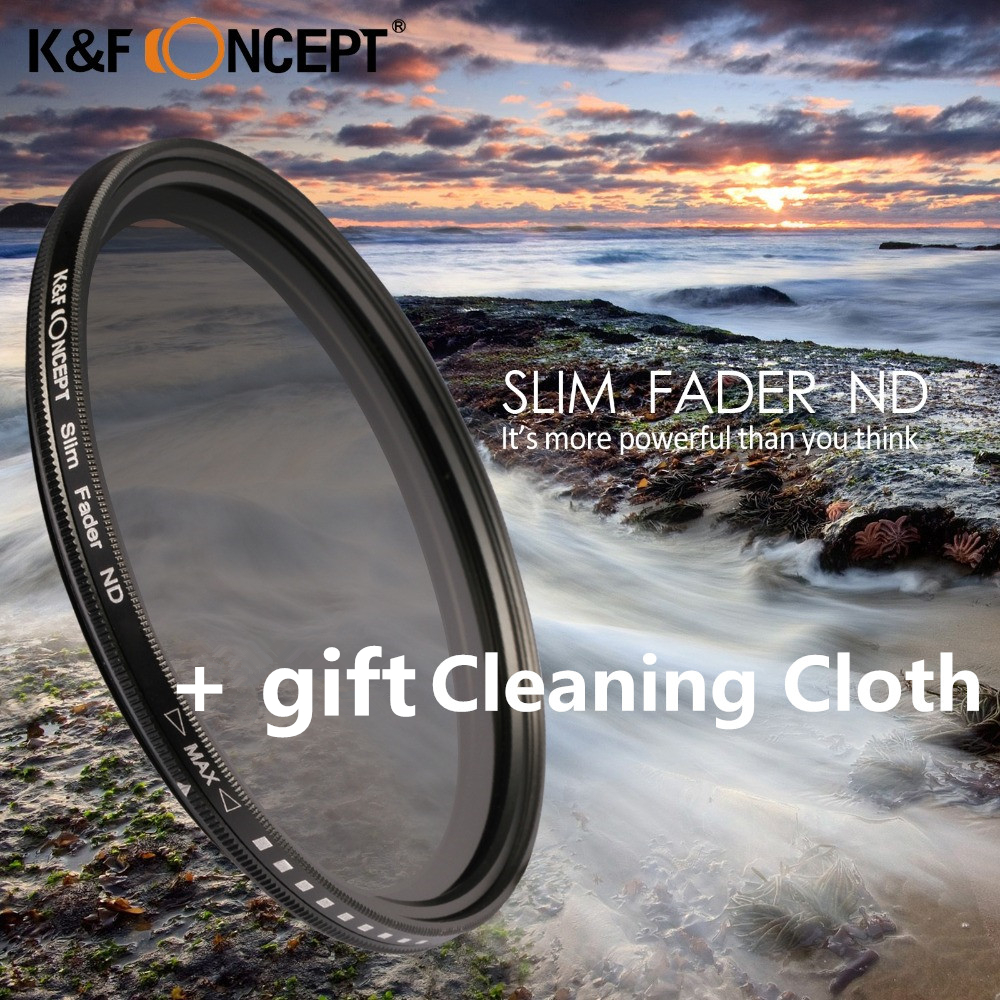 K&F CONCEPT ND Neutral Density Adjustable Fader ND2-ND400 Camera Lens Filter 52/58/62/67/72/77/47/43mm For Canon Nikon Sony DSLR