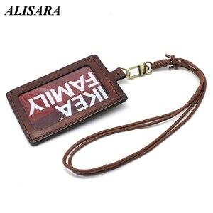 Alisara Вертикальный чехол для удостоверения личности из воловьей кожи, выдвижной держатель для удостоверения личности, брелок для ключей, виз...