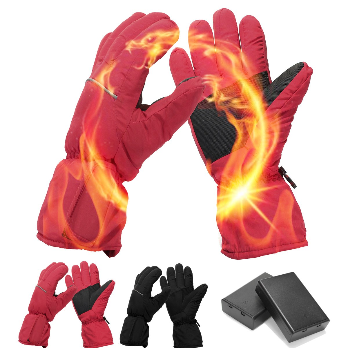Waterproof Winter Rechargeable Motorcycle Ski Bike Heated Gloves Electric Battery Gloves Work Snow Full Finger Warmer Gloves 1 pair 4000mah rechargeable battery with smart switch on off electric heated warm glove winter outdoor work ski warmer gloves