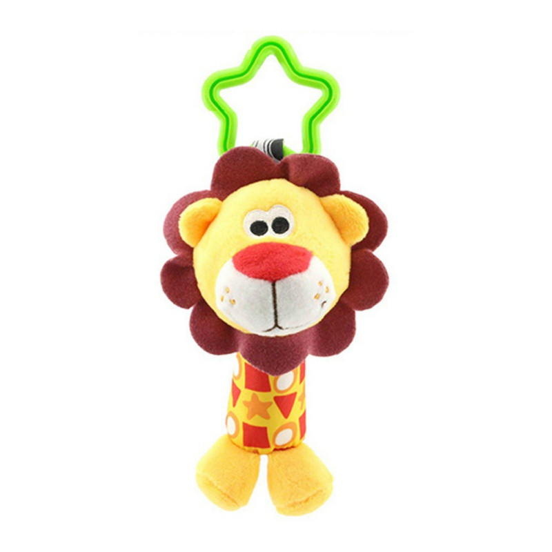 Kacakid New Infant Playing Bed Toys Cartoon Animal Sound Plush Baby Holding Bells Elephant/Monkey/Puppy/Deer/Chicken/Lion