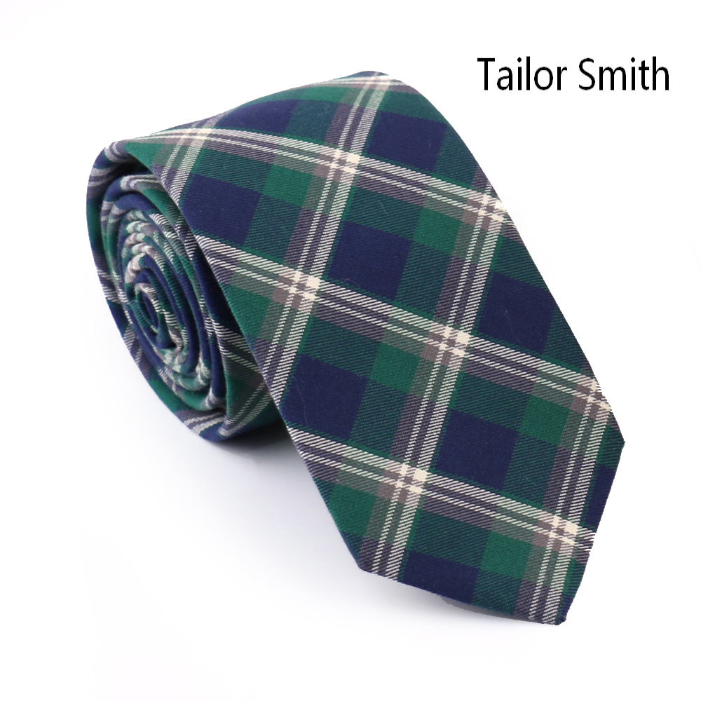 Tailor Smith Top Quality 100 Cotton Plaid Necktie Mens Casual Party Check Slim Ties font b