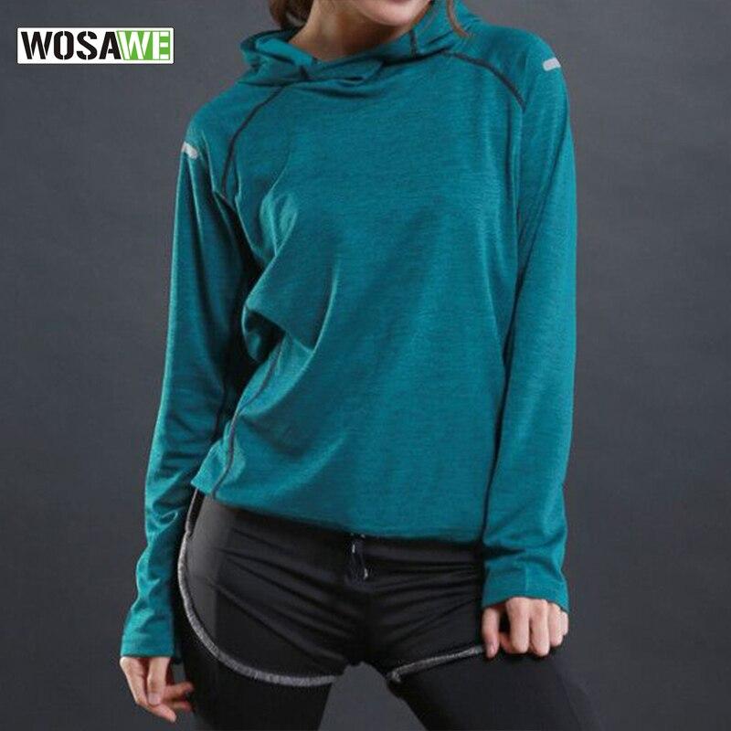 WOSAWE Lauf T Hemd mit kapuze für Frauen Sport Dry Schnell Fitness Gym Shirt Damen Langarm T-shirt Jogging Jogger tops