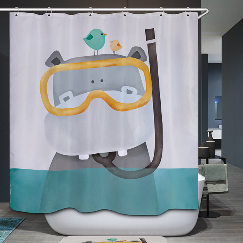 Homing Cute Cartoon Bear Hippo Kid Bath Polyester Curtain Bathroom Shower Waterproof Mildew 12 Hook Home Textile In Curtains From