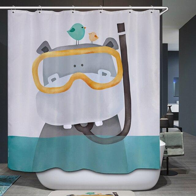 Homing Cute Cartoon Bear Hippo Kid Bath Polyester Curtain Bathroom Shower Waterproof Mildew 12 Hook Home Textile