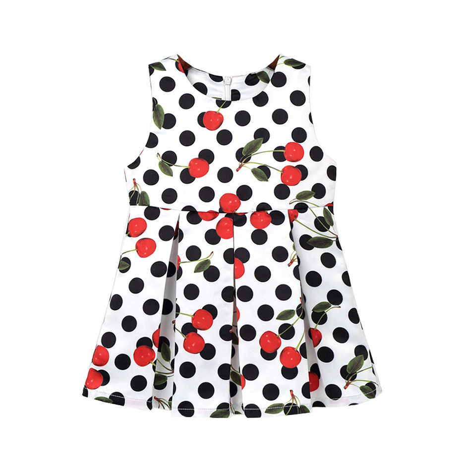 2017 Winter Girls Cherry Dot Print Child Dress Kids Clothes Sweet Princess Sleeveless Cute Graceful Dresses Children Clothing new girls dress brand summer clothes ice cream print costumes sleeveless kids clothing cute children vest dress princess dress