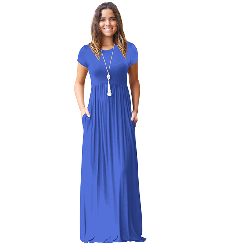 7e7801aec449 Maxi Kleid Für Frauen Kurzarm Plus Größe Lange Kleid O Neck Strand Kleider  Weibliche vestido longo