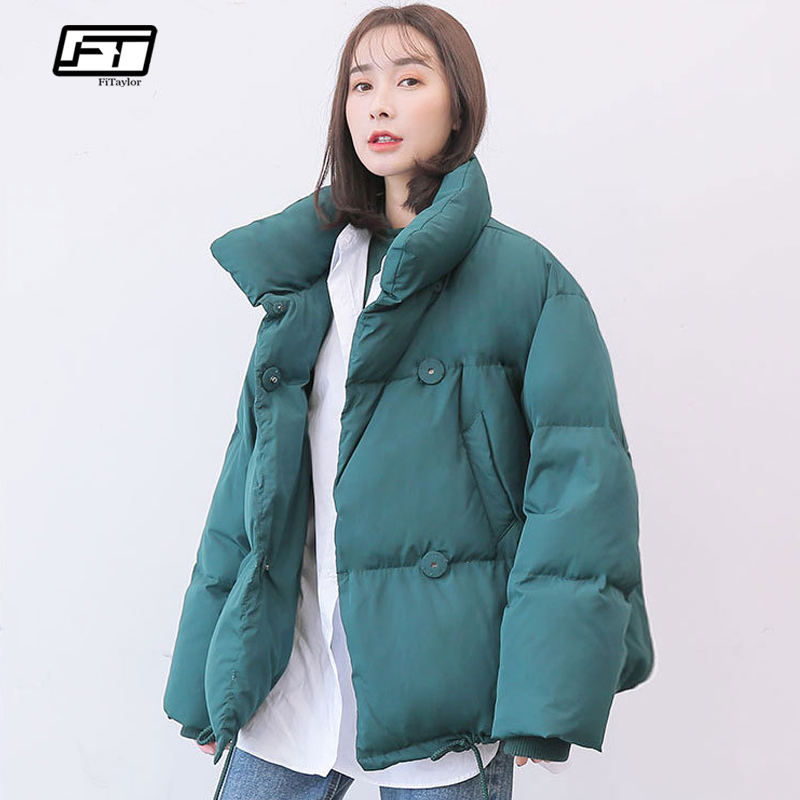 Fitaylor Winter Jacket Coats 90% White Duck Down Parkas Loose Warm Black Snow Short Outwear Female Casual Stand Collar Overcoat Attractive Appearance