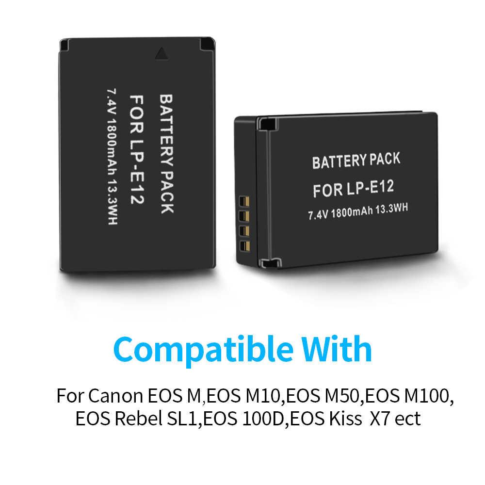 ЖК-USB зарядное устройство для Canon EOSM M10 M50 M100 Rebel SL1 EOS 100D EOS KISS X7 + PALO 3 шт. LP-E12 1800 мАч батарея для камеры