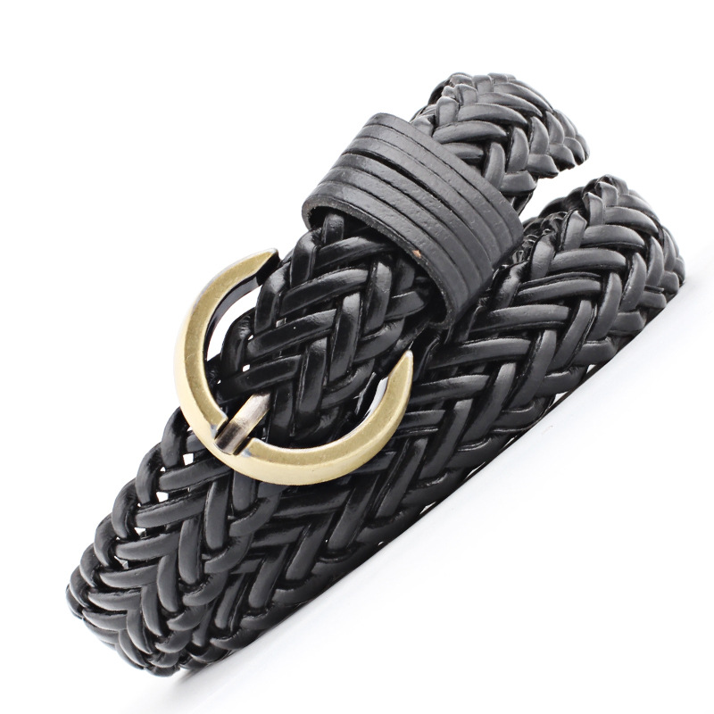 2018 black Brand Designer Casual Dress Belts for Women Thin Braid Leather Belt for Jeans Pin Buckle Female Strap 6 Color N152
