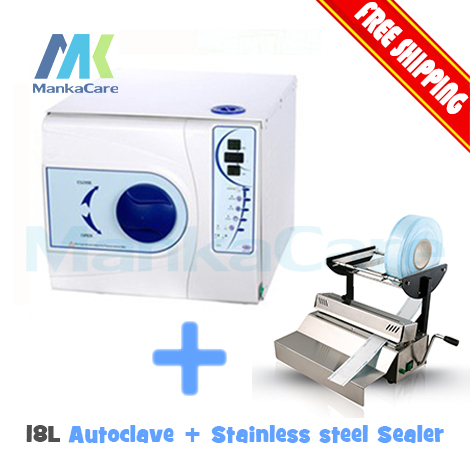 Dental Sealing Machine and 18 L Autoclave without Printer Sealer Stainless Steel Cover Autoclave Sterilization