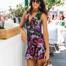 купить Summer V-neck Floral Print Dress Women Sleeveless Zipper Sexy Mini Dress Sun Beach Dress по цене 1001.07 рублей