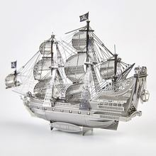 Piececool The Queen Anne's Revenge Pirate Warship DIY 3d Metal Nano Puzzle Assemble Model Kits P038-S Laser Cut Jigsaw Toys(China)