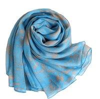 100%ผ้าไหมของผู้หญิงผ้าพันคอหลายสีฟ้าพิมพ์บางdelta sigma thetaนุ่มฮิญาบผ้าพันคอผ้าไหมแท้จีนหัวมุสลิ...