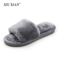 Home Slippers Women Shoes Fur Slippers Woman Shoes Flock Winter Indoor Slipper At Home Woman Shoe Fashion Comfortable