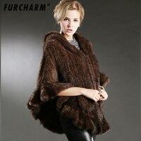 2018 New Genuine Knit Mink Fur Shawl Poncho With Fox Trimming Real Mink Fur Jacket Fashion Women Style Mink Fur Coat
