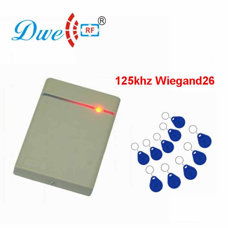DWE CC RF 125khz EM ID Wiegand 26 Access Control Card Reader Waterproof IP65 rfid Scanner Proximity Range D202 mini 125khz wiegand 26 for door access control rfid card proximity id em reader color black