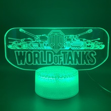 Awesome 3d Led Night Light Lamp Game World of Tanks Office Bed Room Decorative Nightlight Child Kids Boy Birthday Gift