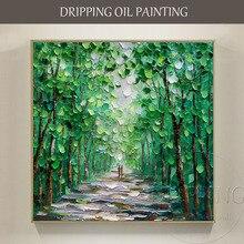 Художественная ручная роспись высокое качество Современная Абстрактная зеленая картина маслом на холсте текстурированный Нож Зеленое Дерево картина маслом