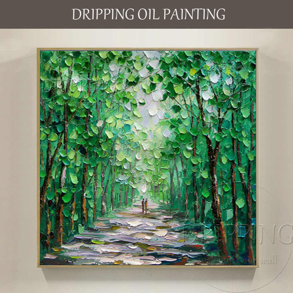 Artist Hand-painted High Quality Modern Abstract Green Landscape Oil Painting on Canvas Textured Knife Green Tree Oil Painting