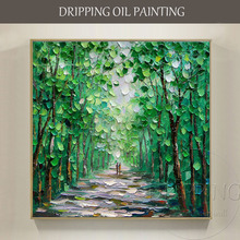 Artist Hand-painted High Quality Modern Abstract Green Landscape Oil Painting on Canvas Textured Knife Tree