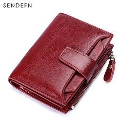Sendefn 2018 Vintage Small Wallet Women Split Leather Coin Purse Short Wallet Female Purse Wine Red Zipper Pocket Card Holder