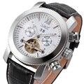 Модные Мужские автоматические механические часы Jaragar  мужские кожаные часы с перфорацией  водонепроницаемые часы в деловом стиле