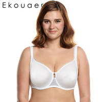 Ekouaer Push Up Demi Thin Bra Underwire Women Underwear Bra Lace Decorated Breathable Soft Brassiere Plus