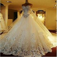 Luxury Sparkly Wedding Dress with Crystals Detachable Back Train Bridal Gown