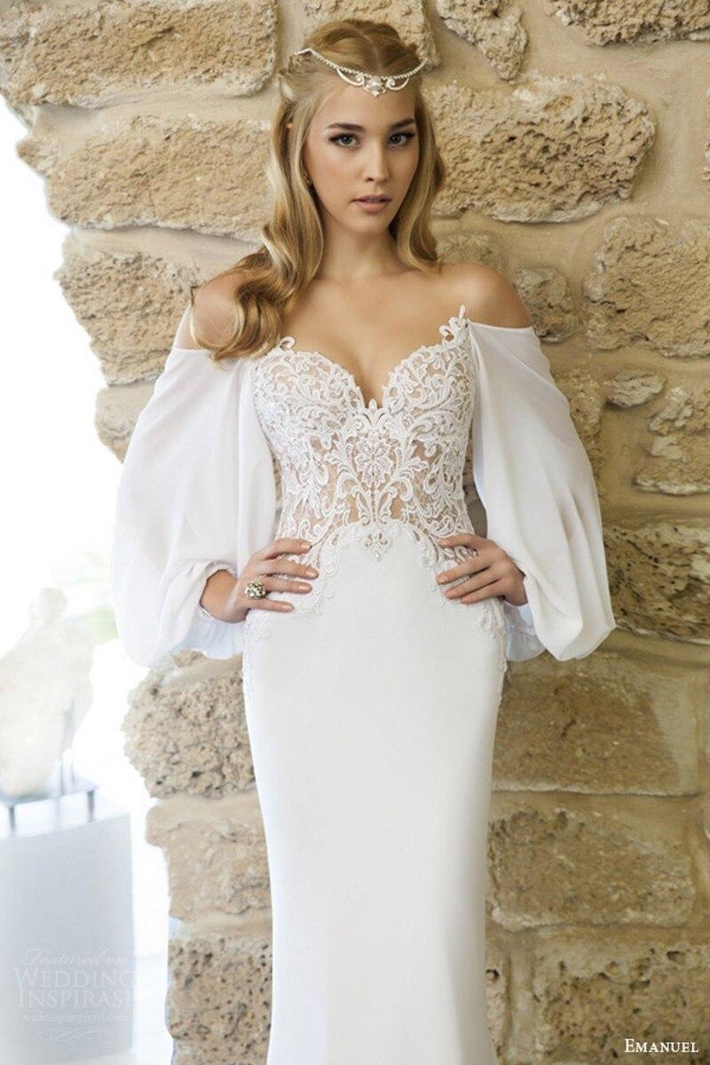 robe de noiva romantique designer haute couture plage robe de marie en dentelle corsage drap houleuse manches longues robe de - Aliexpress Mariage