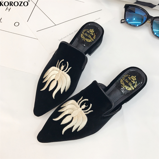 Embroider Velet Mules Slides Furry Slipper Flat Heel Platform Flip Flops Slipony Woman Shoes
