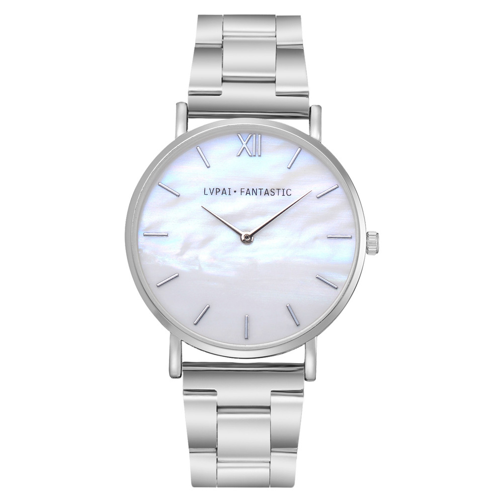 8SEASONS Simple Shell Plate Quartz Wrist Watches Alloy Watchband Rose Gold Silver Color Women Men Watch Clock Jewelry, 1 Piece