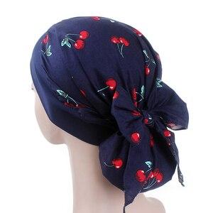 Image 5 - מוסלמי נשים כפת טורבן כובע ראש צעיף נמתח לעטוף בנדנה חיג אב כובע שיער אובדן פרח הדפסת סרטן חמו כובע ערבי הודי