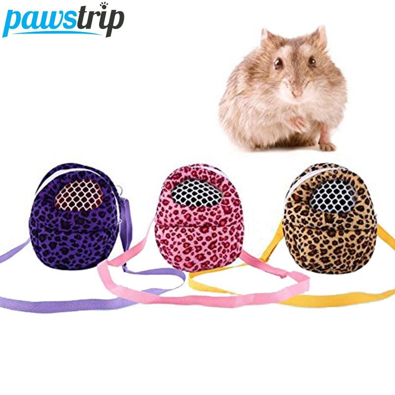 Mini Leopard Hamster Carrier Bag Portable Outdoor Hedgehog Rabbit Travel Bag With Shoulder Strap S/M/L