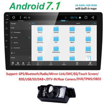 "HIZPO 10.1"" Android 7.1 Octa Core 2 DIN Car Radio 32GB Rotatable Face Panel 2.5D Curved Screen Stereo Player GPS OBD DVR No DVD(China)"