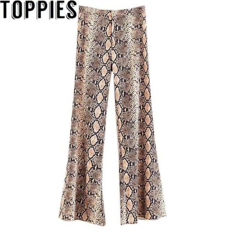 Vintage Snake Print Flare Pants Women 2019 New Fashion Zipper Fly High Waist Streetwear Ladies Trousers Casual Pantalon Femme Bottoms
