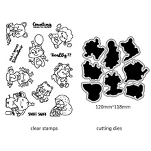 AZSG Cartoon Cute Sheep Deer Elephant Cutting Dies Clear Stamps For DIY Scrapbooking/Card Making Decorative Silicone Stamp Craft