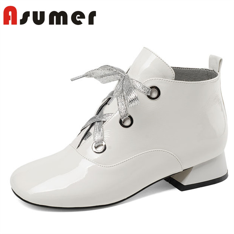 все цены на ASUMER HOT SALE 2018 adult shallow ankle boots for women simple winter boots square toe lace up fashion genuine leather boots