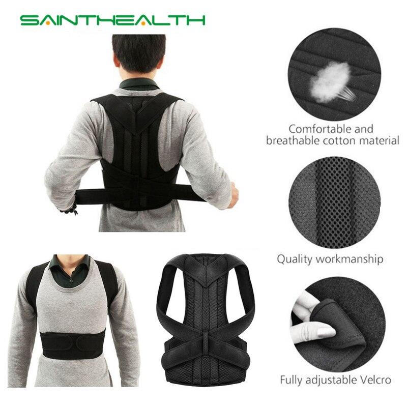 Unisex ajustable Corrector de postura hombro apoyo alivio del dolor de la columna Lumbar correa de soporte de la postura de corrección