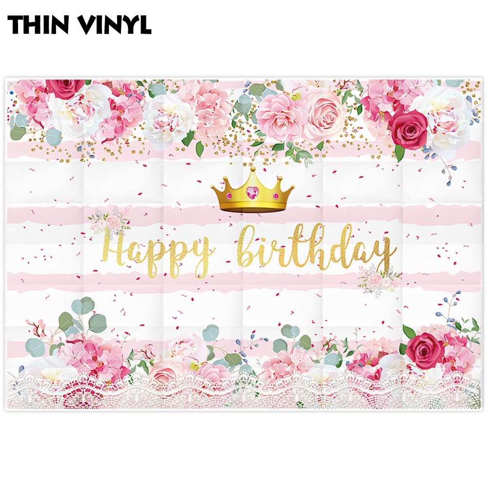 Funnytree Girl Birthday Party Backdrop Photophone Princess Crown