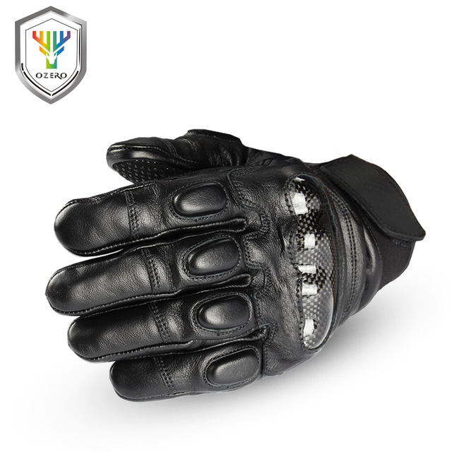 OZERO Men Motorcycle Gloves, Genuine Cowhide Leather