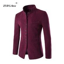 秋冬メンズスーツコートフリースタイルレジャーシングルブレストは、中国のチュニックスーツジャケットカジュアルスーツ